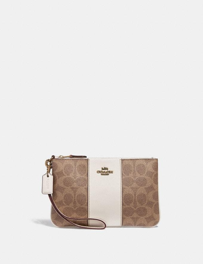 Coach Small Wristlet in Colorblock Signature Canvas Tan/Chalk/Brass Women Bags Signature Bags