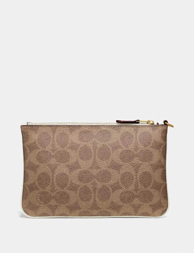 Coach Small Wristlet in Colorblock Signature Canvas Tan/Chalk/Brass New Women's New Arrivals Small Leather Goods Alternate View 1