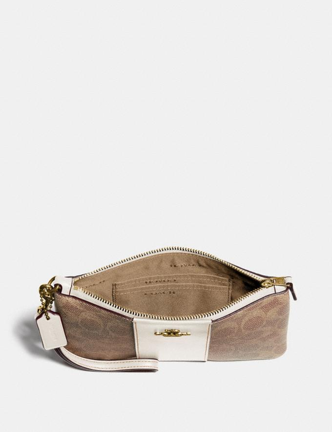 Coach Small Wristlet in Colorblock Signature Canvas Tan/Chalk/Brass Women Bags Signature Bags Alternate View 2
