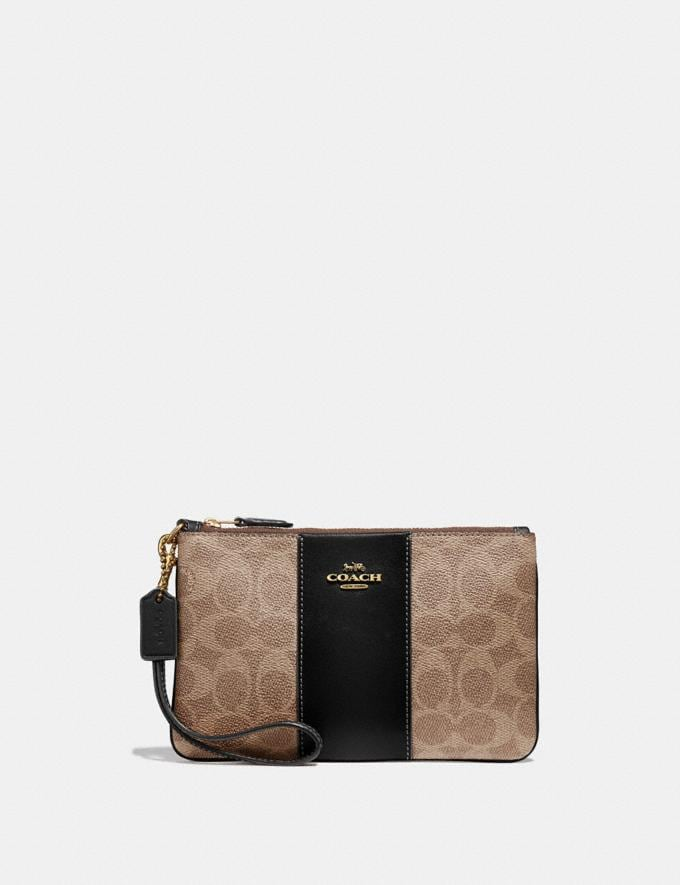 Coach Small Wristlet in Colorblock Signature Canvas Brass/Tan Black Women Collection Signature