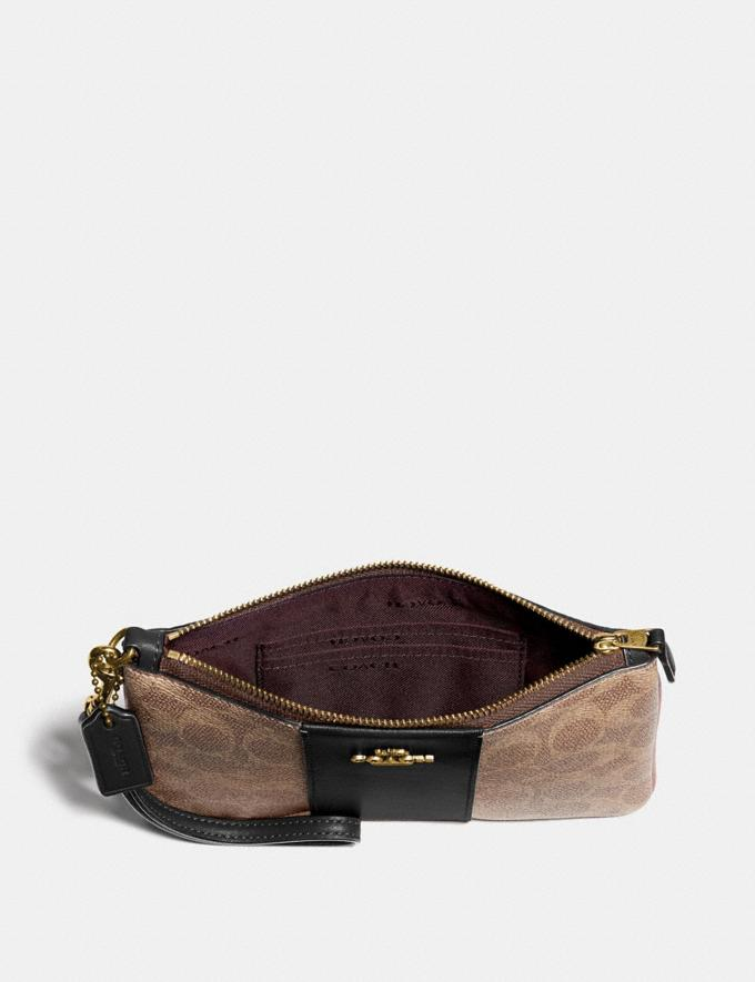 Coach Small Wristlet in Colorblock Signature Canvas B4/Tan Black Women Edits Work Alternate View 2
