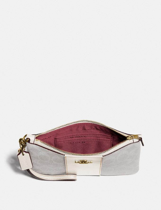 Coach Small Wristlet in Colorblock Signature Canvas B4/Chalk Chalk Women Small Leather Goods Wristlets Alternate View 1