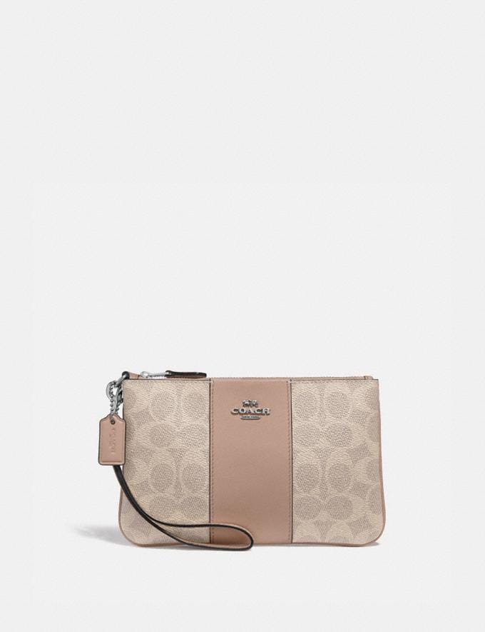 Coach Small Wristlet in Colorblock Signature Canvas Lh/Sand Taupe Women Small Leather Goods Wristlets