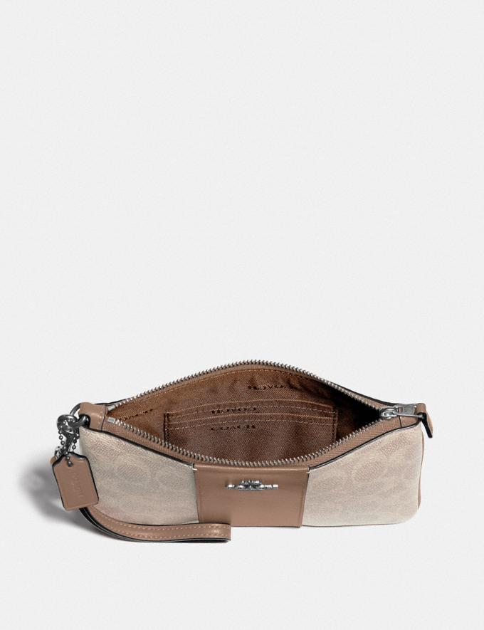 Coach Small Wristlet in Colorblock Signature Canvas Lh/Sand Taupe Women Small Leather Goods Wristlets Alternate View 1