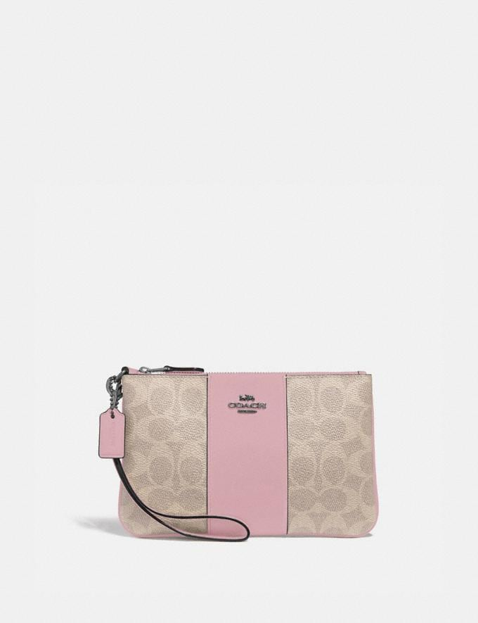 Coach Small Wristlet in Colorblock Signature Canvas Light Nickel/Sand Aurora New Women's New Arrivals