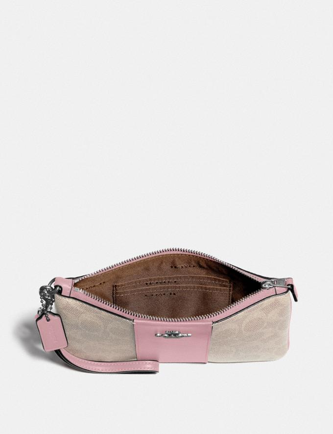 Coach Small Wristlet in Colorblock Signature Canvas Light Nickel/Sand Aurora New Women's New Arrivals Alternate View 1