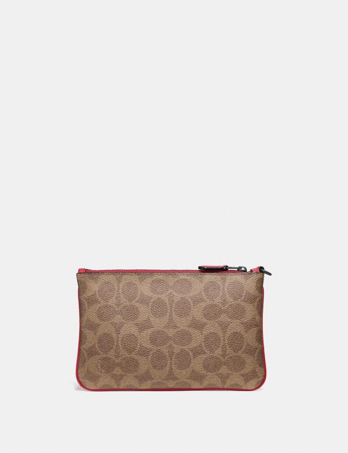 Coach Small Wristlet in Colorblock Signature Canvas Pewter/Tan Red Apple Gift For Her Under €100 Alternate View 1