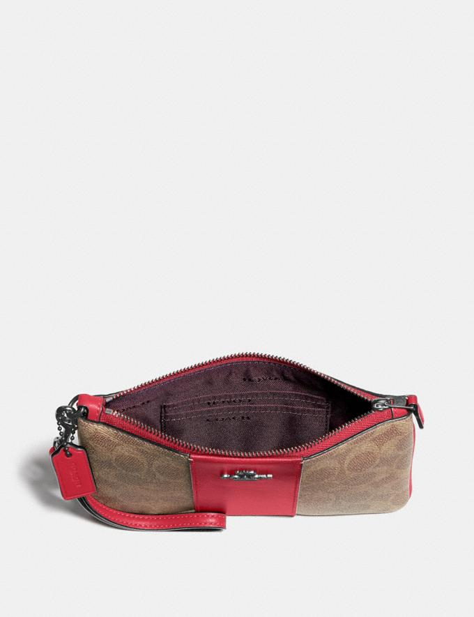 Coach Small Wristlet in Colorblock Signature Canvas Pewter/Tan Red Apple Gift For Her Under €100 Alternate View 2