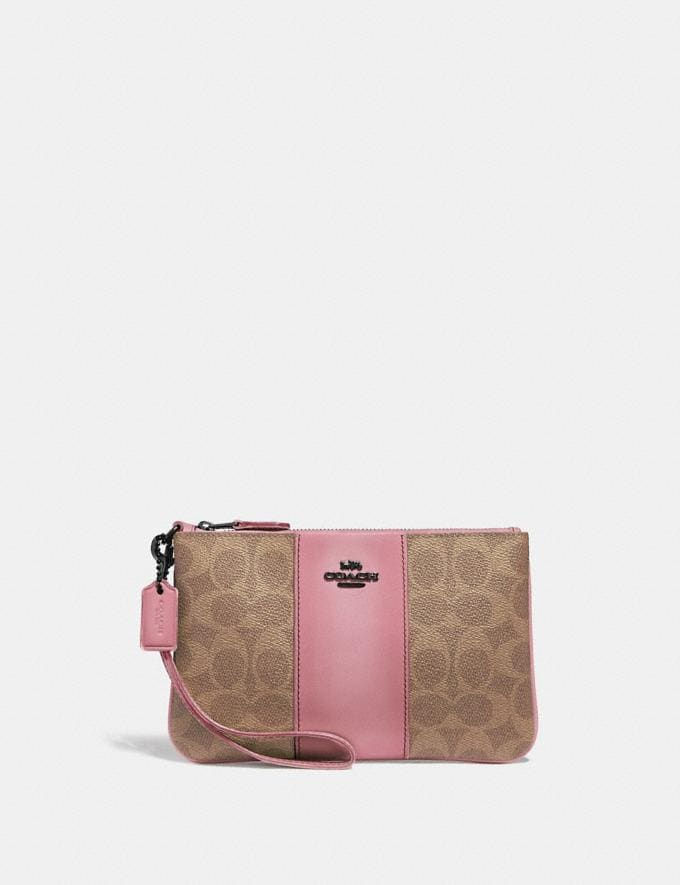 Coach Small Wristlet in Colorblock Signature Canvas Pewter/Tan True Pink Women Accessories Tech & Work