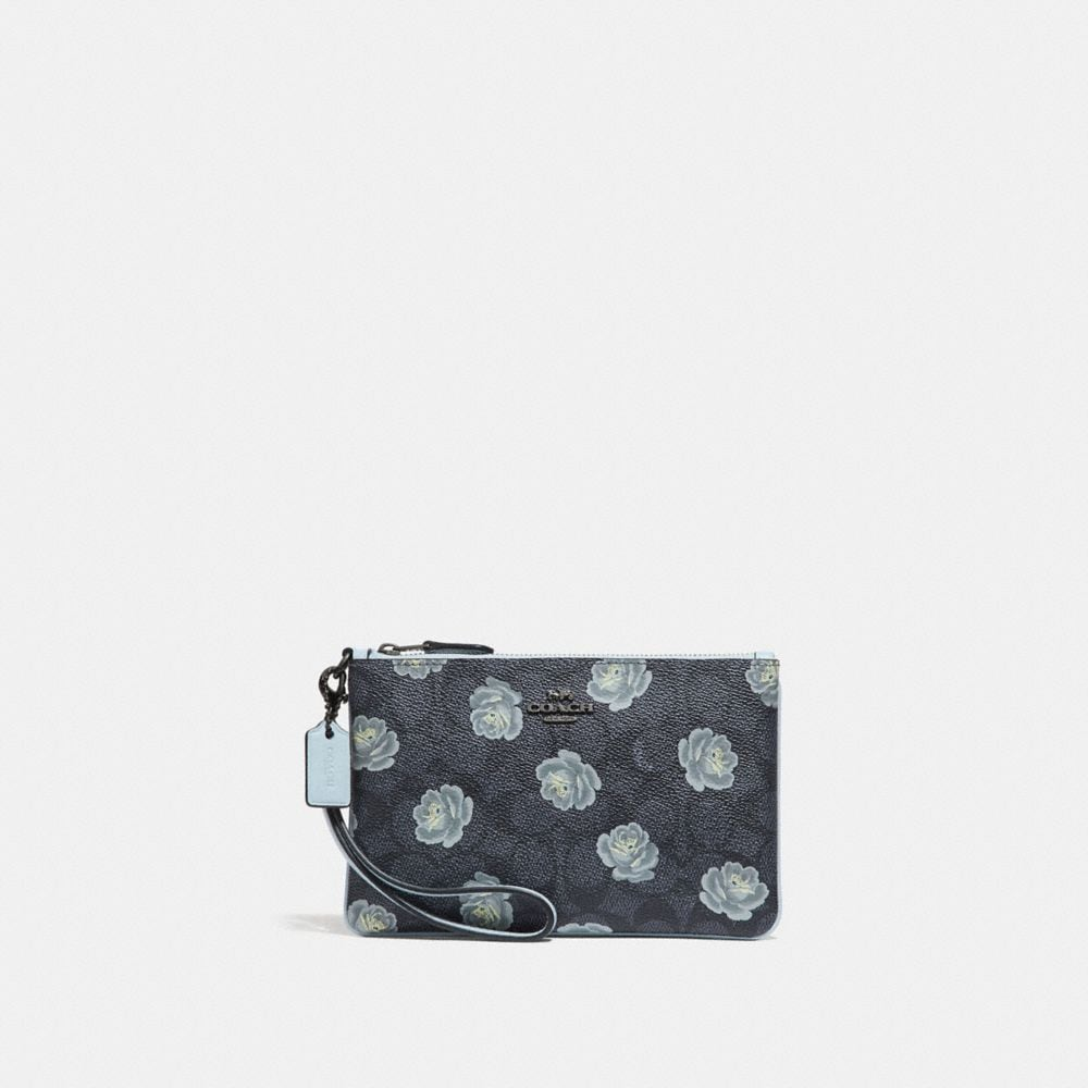 Coach Small Wristlet in Signature Rose Print