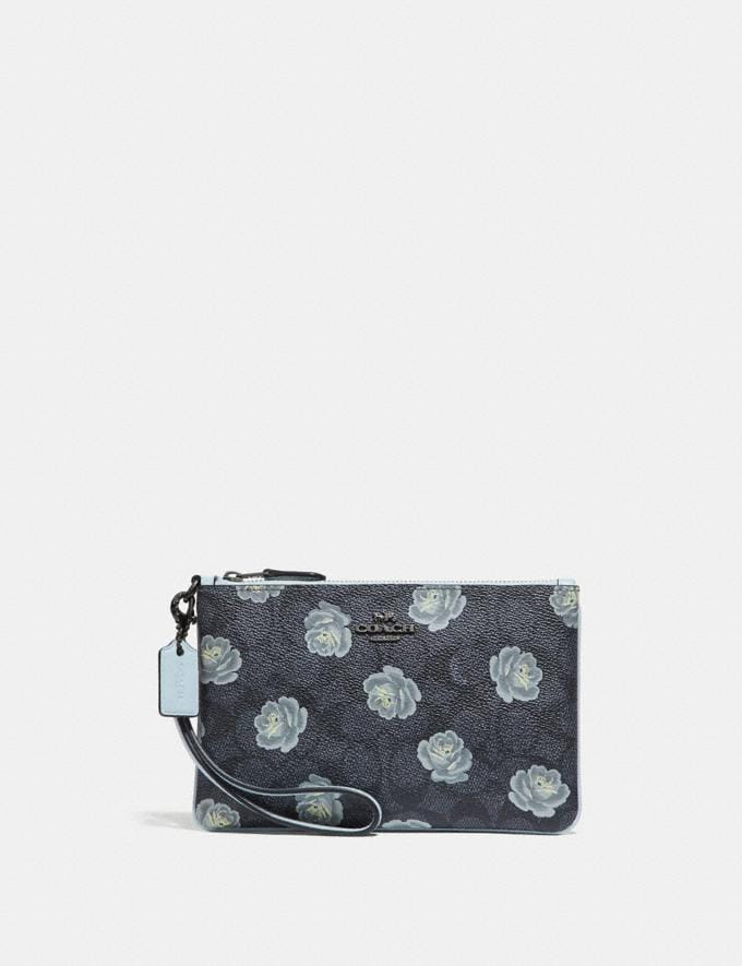 Coach Small Wristlet in Signature Rose Print Charcoal Sky SALE Women's Sale Wallets & Wristlets