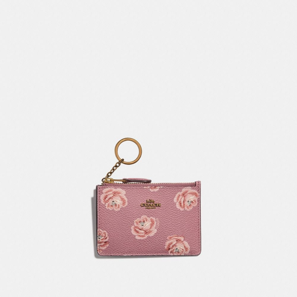 Coach Mini Skinny Id Case With Rose Print