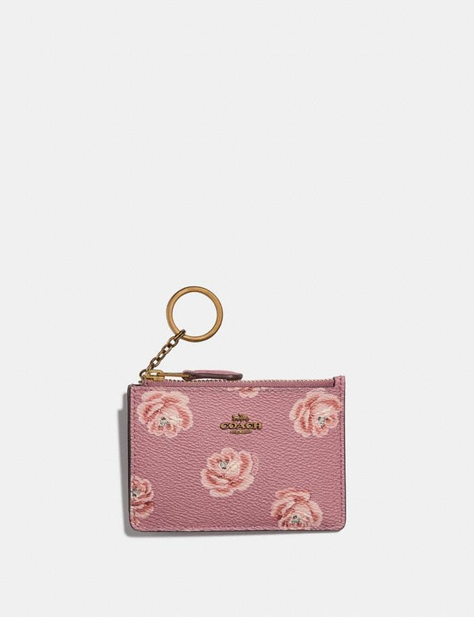 Coach Mini Skinny Id Case With Rose Print Oxblood Rose Print/Gold Women Wallets & Wristlets Small Wallets