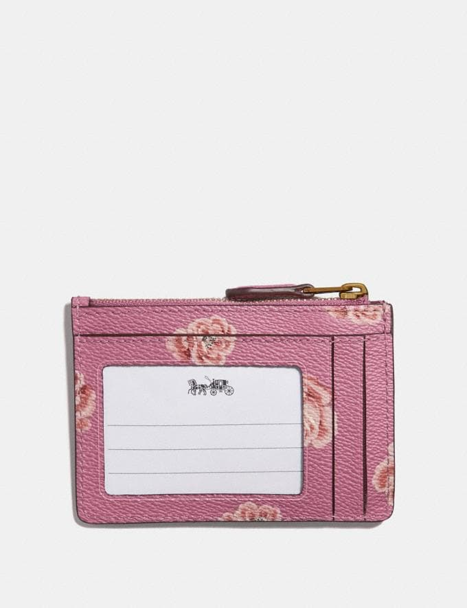 Coach Mini Skinny Id Case With Rose Print Oxblood Rose Print/Gold Women Wallets & Wristlets Small Wallets Alternate View 1