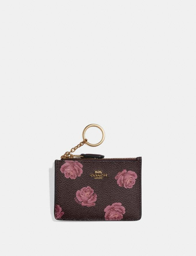 Coach Mini Skinny Id Case With Rose Print Oxblood Rose Print/Gold New Featured Online Exclusives