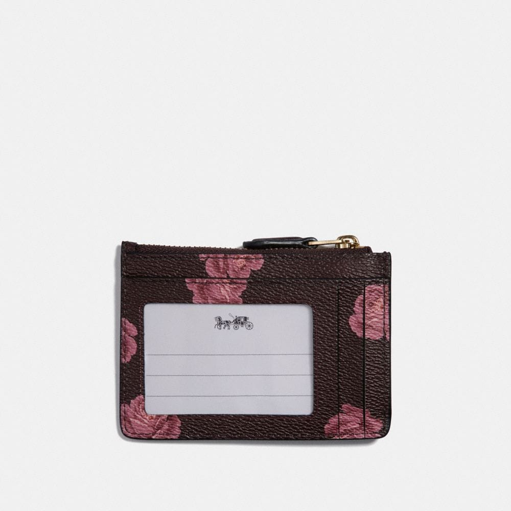 Coach Mini Skinny Id Case With Rose Print Alternate View 1