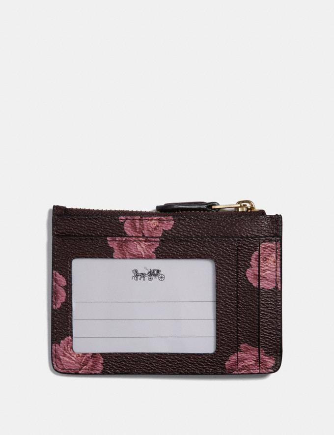 Coach Mini Skinny Id Case With Rose Print Oxblood Rose Print/Gold New Featured Online Exclusives Alternate View 1