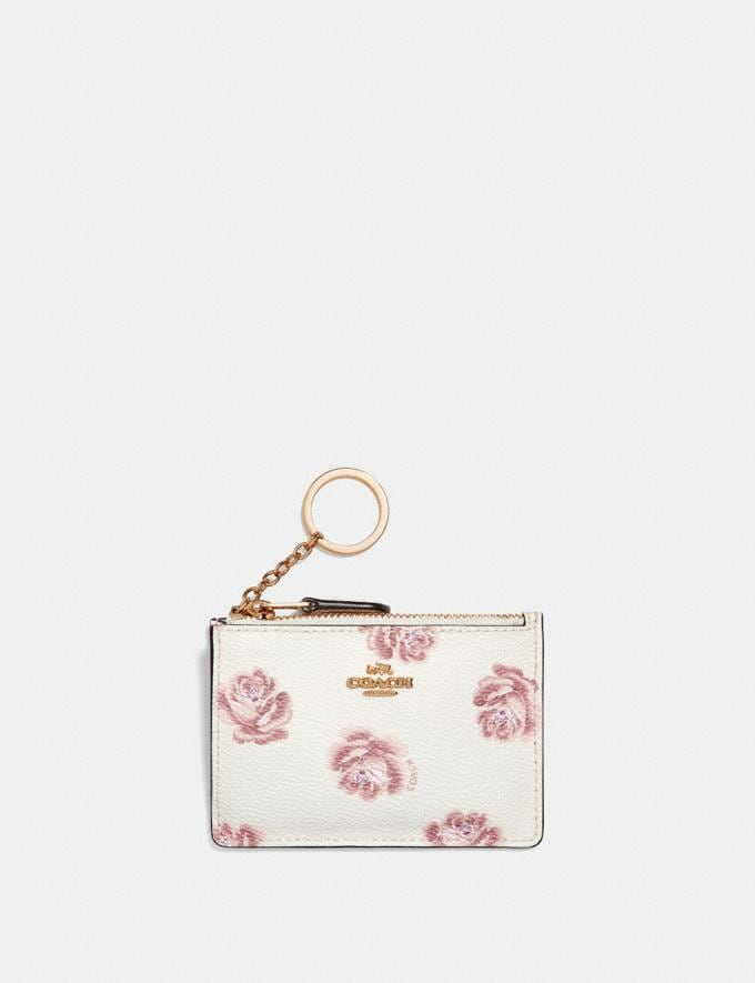 Coach Mini Skinny Id Case With Rose Print Chalk Rose Print/Light Gold Women Wallets & Wristlets Small Wallets