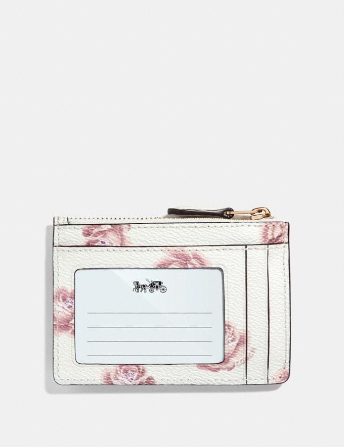 Coach Mini Skinny Id Case With Rose Print Chalk Rose Print/Light Gold Women Wallets & Wristlets Small Wallets Alternate View 1