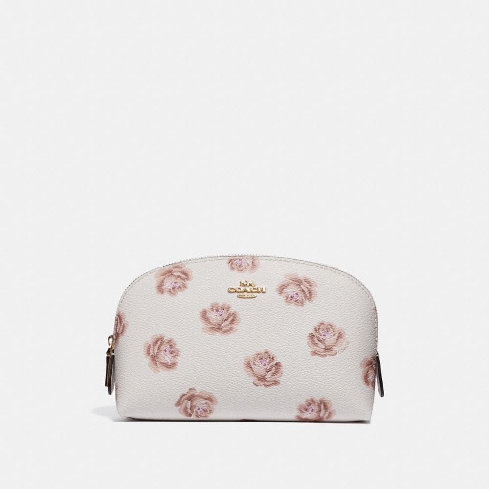 Kosmetiketui 17 Mit Rosenprint, Chalk Rose Print/Light Gold