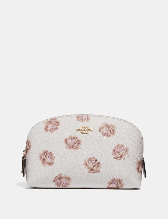 Coach Cosmetic Case 17 With Rose Print Chalk Rose Print/Light Gold New Featured Online Exclusives