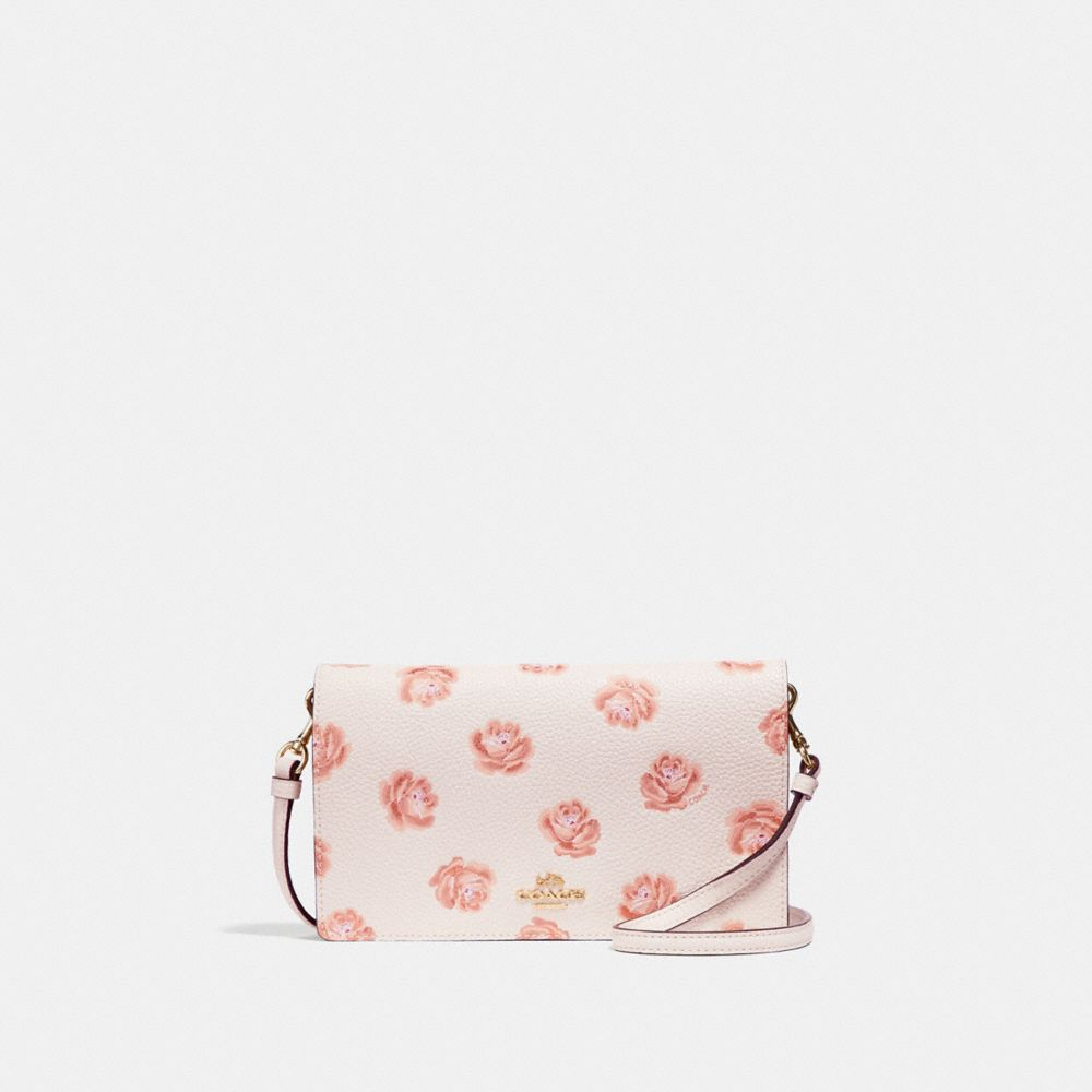 Coach Foldover Crossbody Clutch With Rose Print