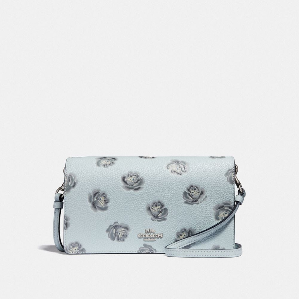 Coach Foldover Crossbody Clutch With Rose Print in White