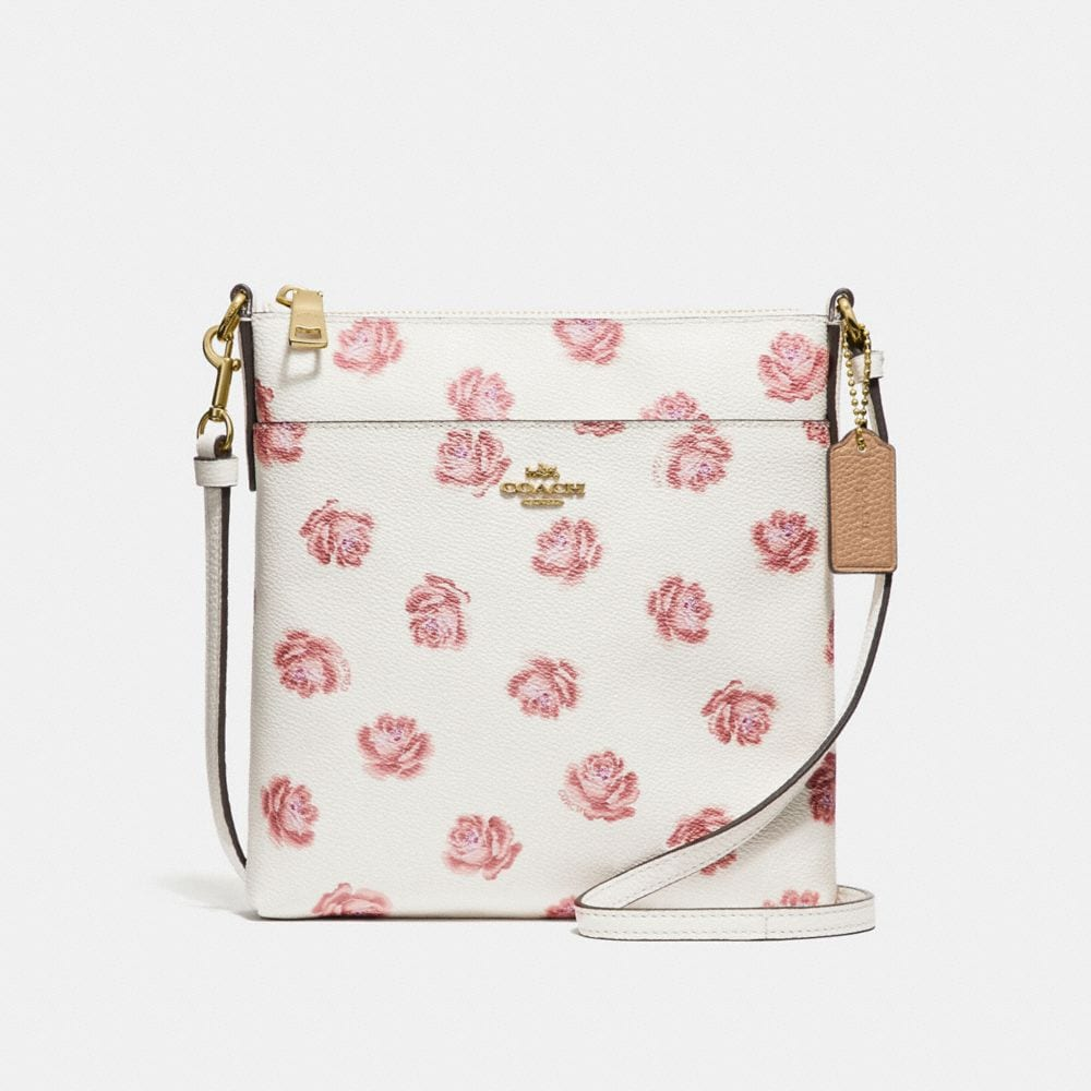 messenger crossbody with rose print