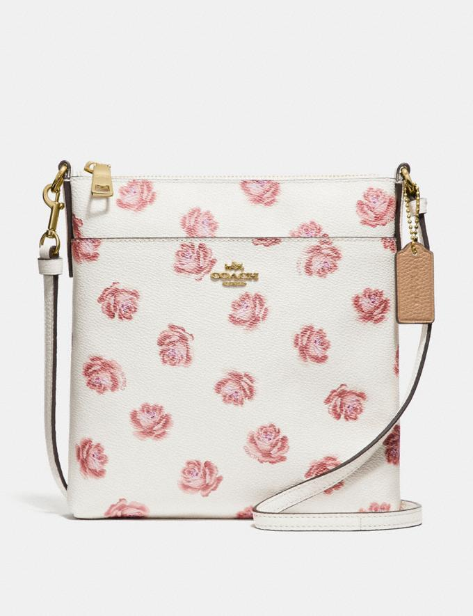Coach Kitt Messenger Crossbody With Rose Print Chalk Rose Print/Light Gold New Featured Online Exclusives