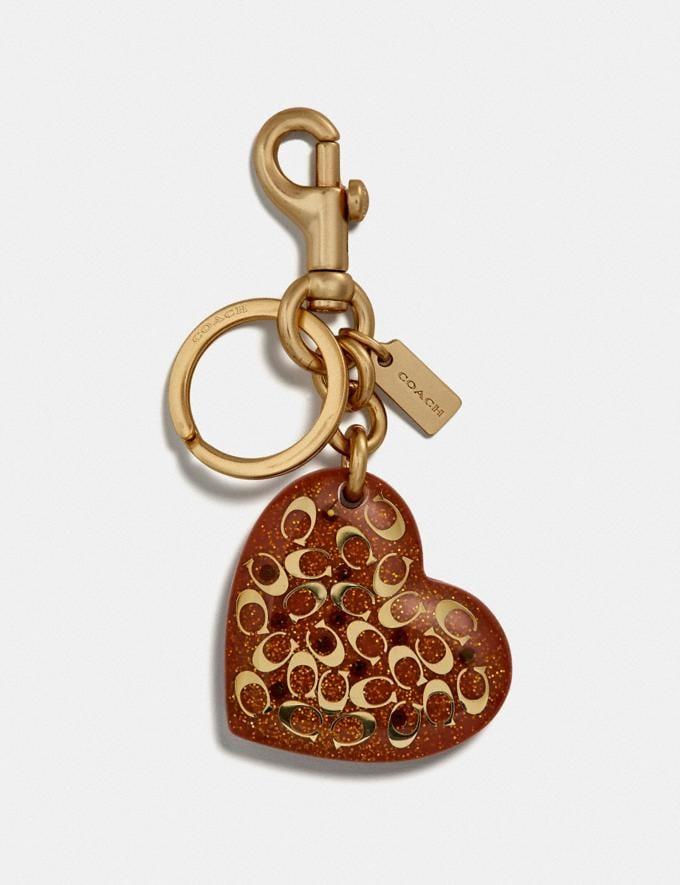 Coach Signature Heart Bag Charm Coral/Gold SALE Women's Sale Accessories