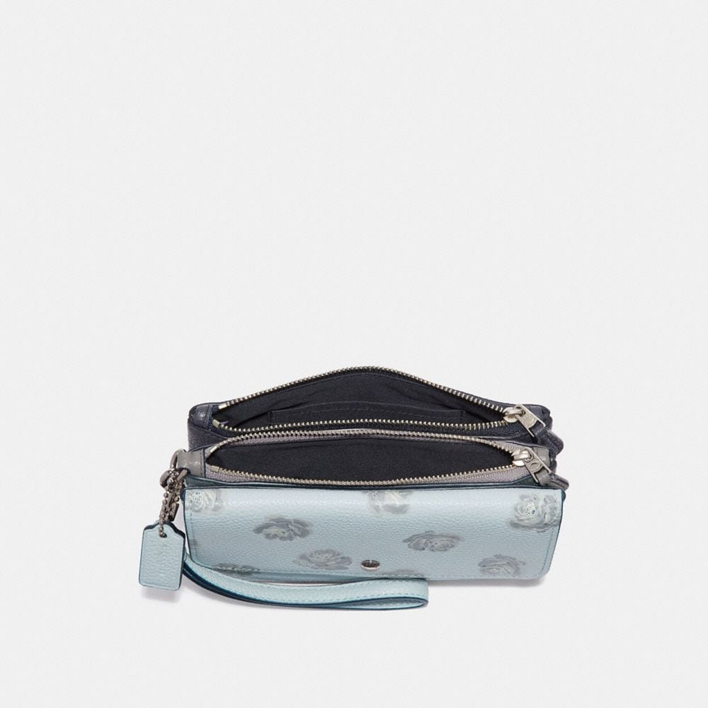 Coach Triple Small Wristlet With Rose Print Alternate View 1