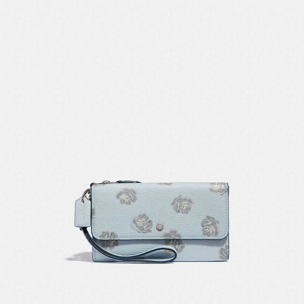 Coach Triple Small Wristlet With Rose Print