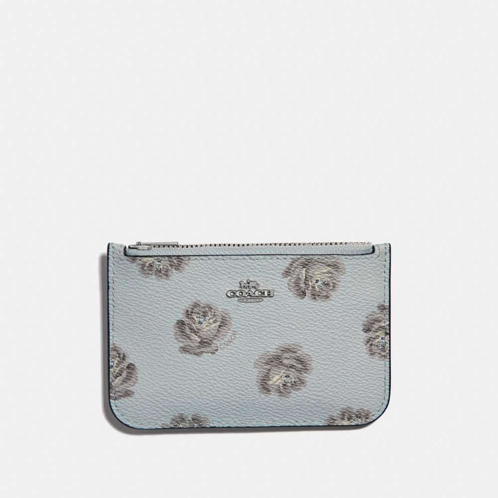 ZIP CARD CASE WITH ROSE PRINT