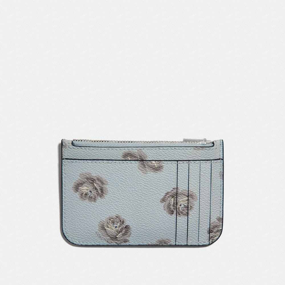 Coach Zip Card Case With Rose Print Alternate View 1