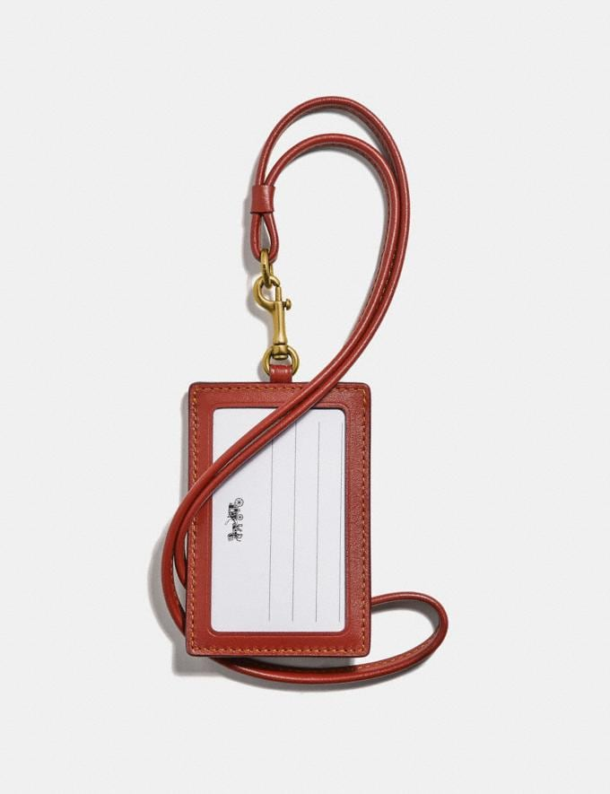Coach Id Lanyard in Colorblock Signature Canvas Tan/Rust/Brass Women Accessories Alternate View 1