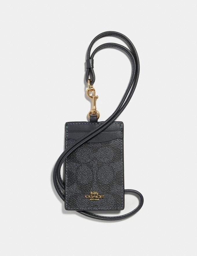 Coach Id Lanyard in Colorblock Signature Canvas Charcoal/Midnight Navy/Light Gold Women Wallets & Wristlets Small Wallets