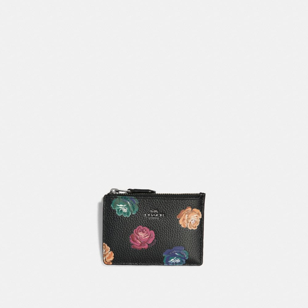 MINI SKINNY ID CASE IN POLISHED PEBBLE LEATHER WITH RAINBOW ROSE PRINT