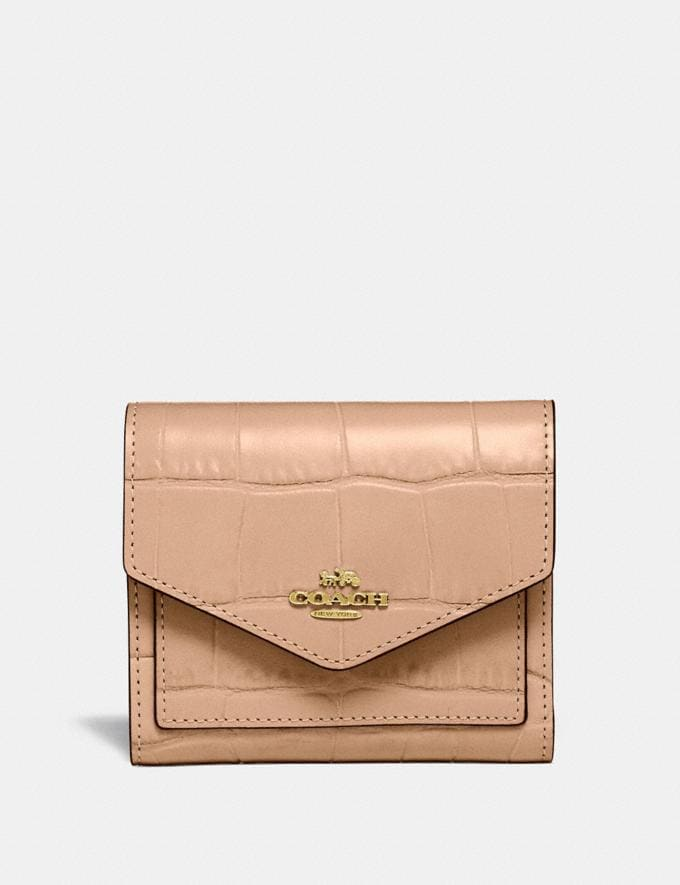 Coach Small Wallet Gold/Beechwood Women Wallets & Wristlets Small Wallets