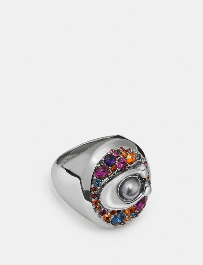 Coach Multicolor Signature Ring Multi/Silver Women Accessories Jewelry Rings