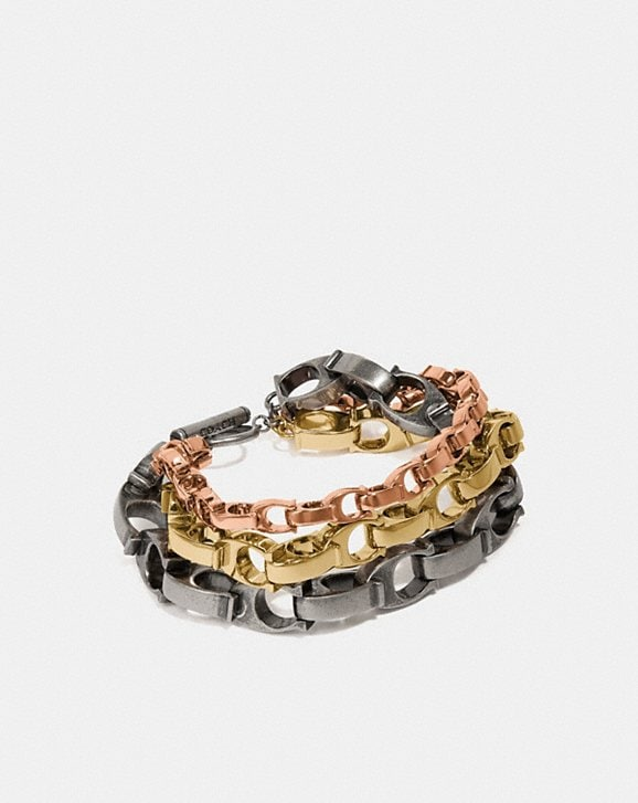 Coach SIGNATURE CHAIN LAYERED BRACELET