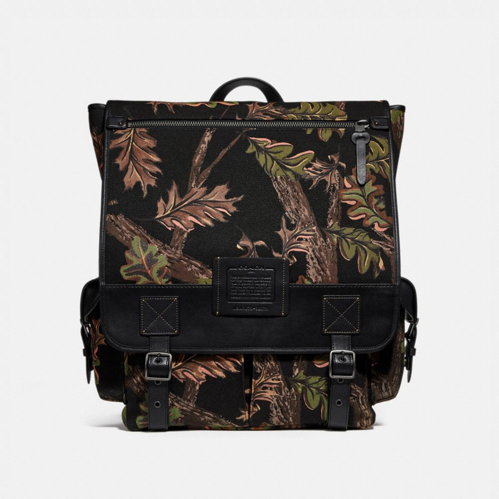 scout backpack with oak leaf print