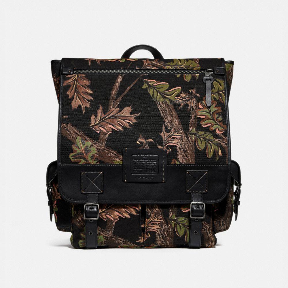 Coach Scout Backpack With Oak Leaf Print
