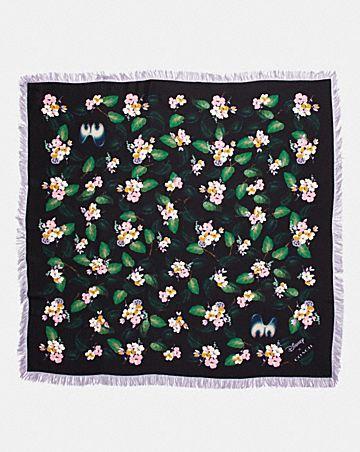 Coach Woman Printed Wool-twill Scarf Black Size Coach fOMz0JsGV