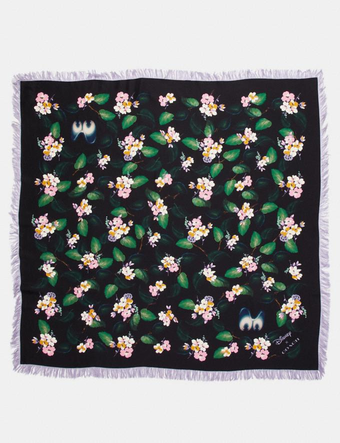 Coach Disney X Coach Forest Floral Fringe Scarf Black Women Accessories Hats, Scarves & Gloves