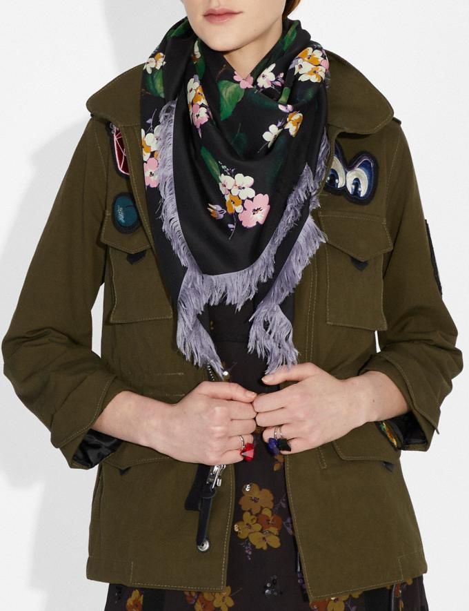 Coach Disney X Coach Forest Floral Fringe Scarf Black Women Accessories Hats, Scarves & Gloves Alternate View 1