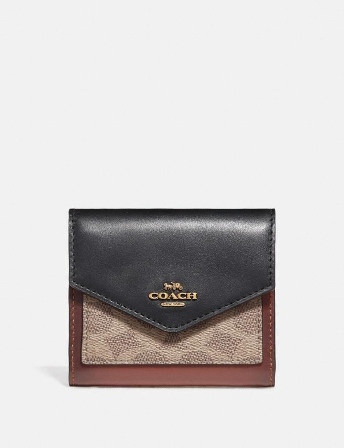 Coach Small Wallet in Colorblock Signature Canvas Tan/Black/Brass Women Wallets & Wristlets Small Wallets