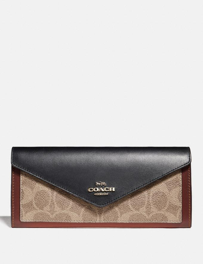 Coach Soft Wallet in Colorblock Signature Canvas B4/Tan Black Women Small Leather Goods Large Wallets