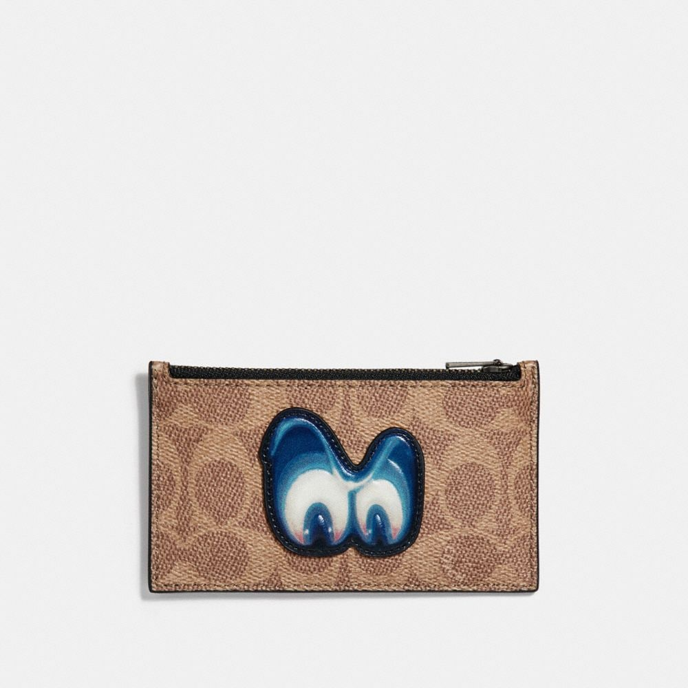DISNEY X COACH ZIP CARD CASE IN SIGNATURE WITH PATCH