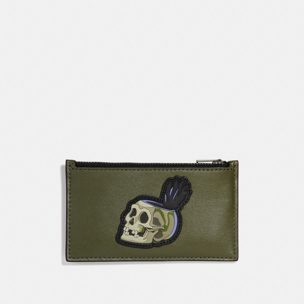 DISNEY X COACH ZIP CARD CASE WITH SKULL
