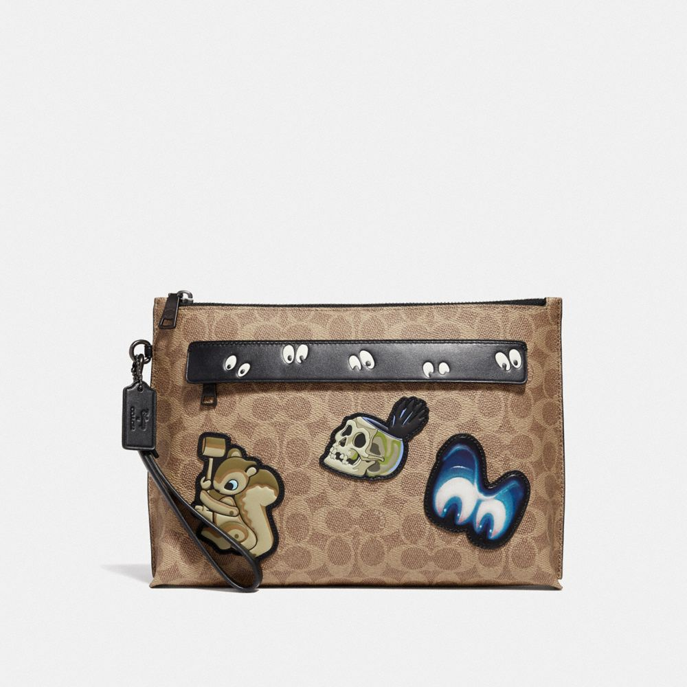 Coach Disney X Coach Carryall Pouch With Signature Patchwork
